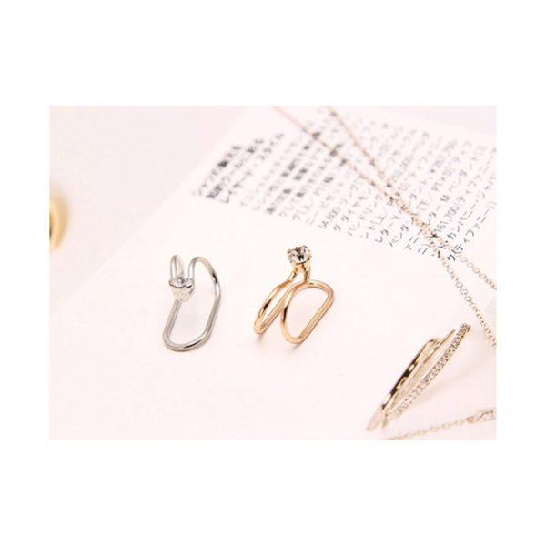 Silver Diamond Studded Ear Cuff