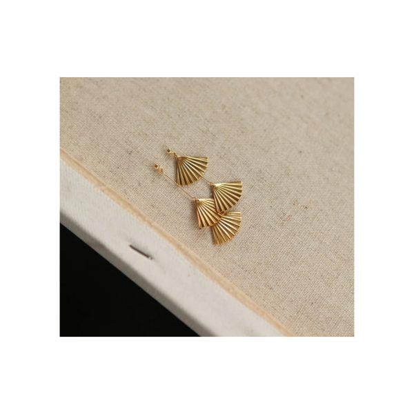 Golden Fan Earings