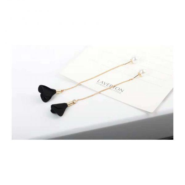 Delicate Black Rose Earings